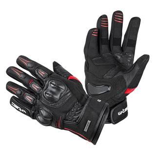 Kožené moto rukavice  Legend čierno-červená - S