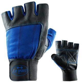 Fitness rukavice kožené modré  S