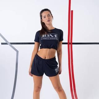 LABELLAMAFIA Dámske tričko CropTop Gold Details Black  S