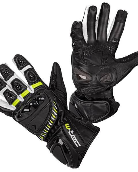 Moto rukavice W-TEC Evolation čierno-bielo-fluo - S