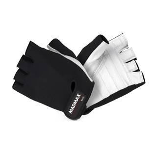 Fitness rukavice MadMax Basic bielo-čierna - S